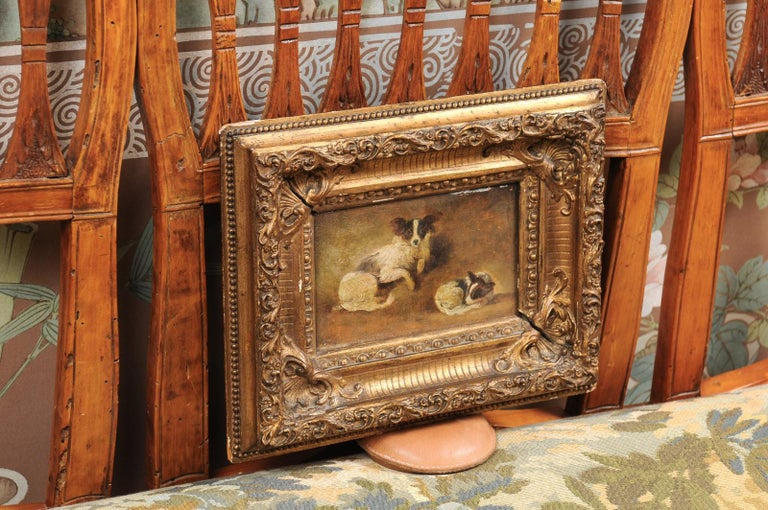 French Giltwood Framed Oil on Panel Painting of Papillon Dogs For Sale 3