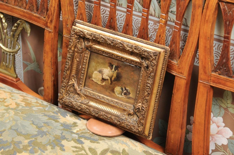 French Giltwood Framed Oil on Panel Painting of Papillon Dogs For Sale 4