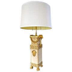 French Gilt Wood Rams Head Paw Feet Table Lamp