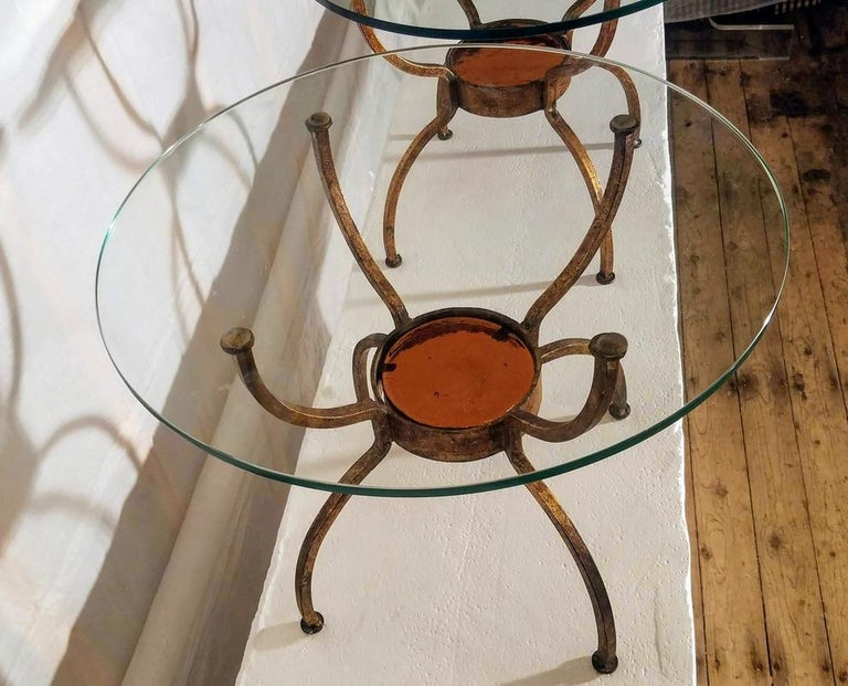 Pair of French Gilt Wrought Iron End Table, France, 1970s For Sale 4