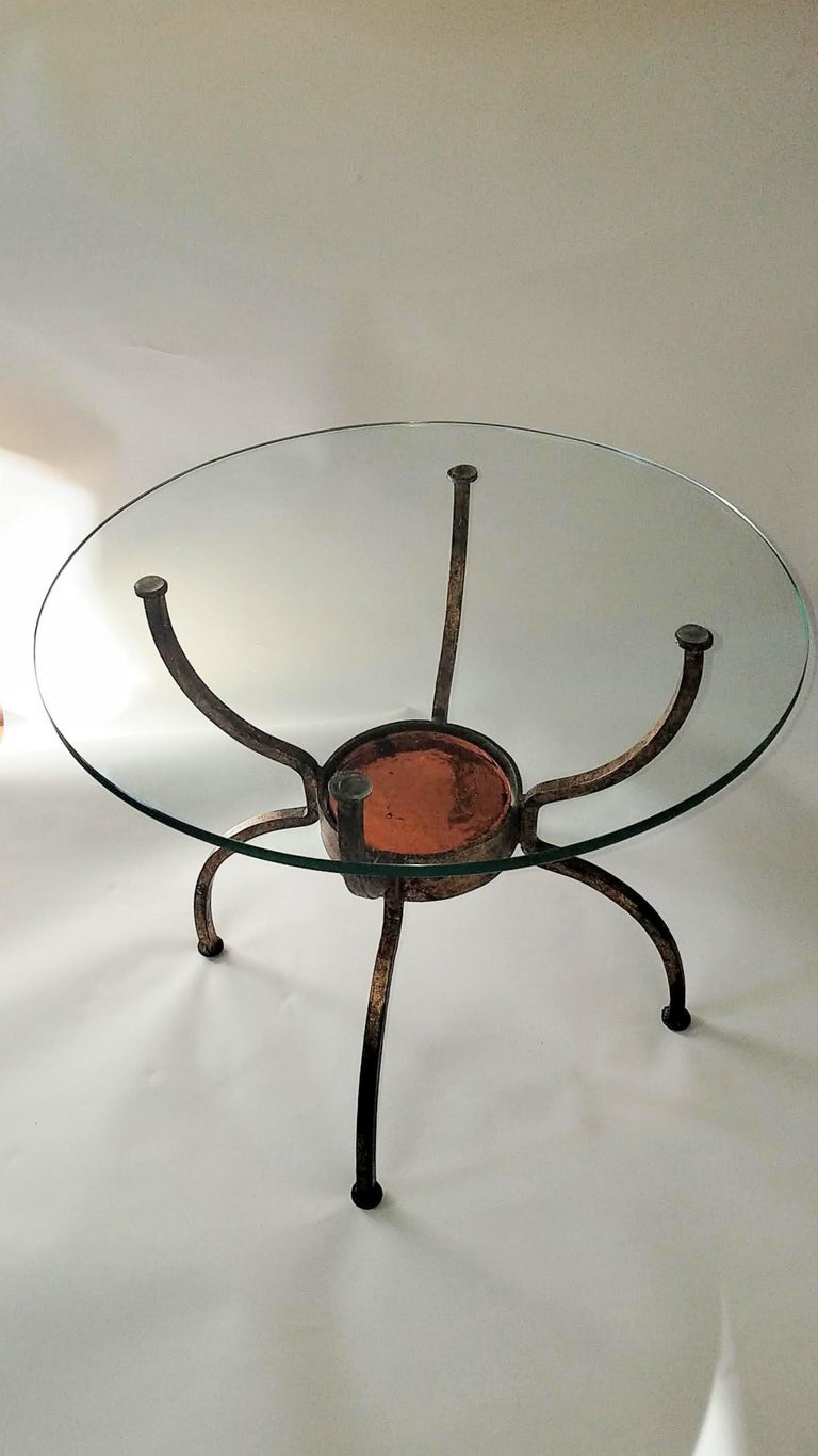 Mid-Century Modern French Gilt Wrought Iron End Table, France, 1970s For Sale