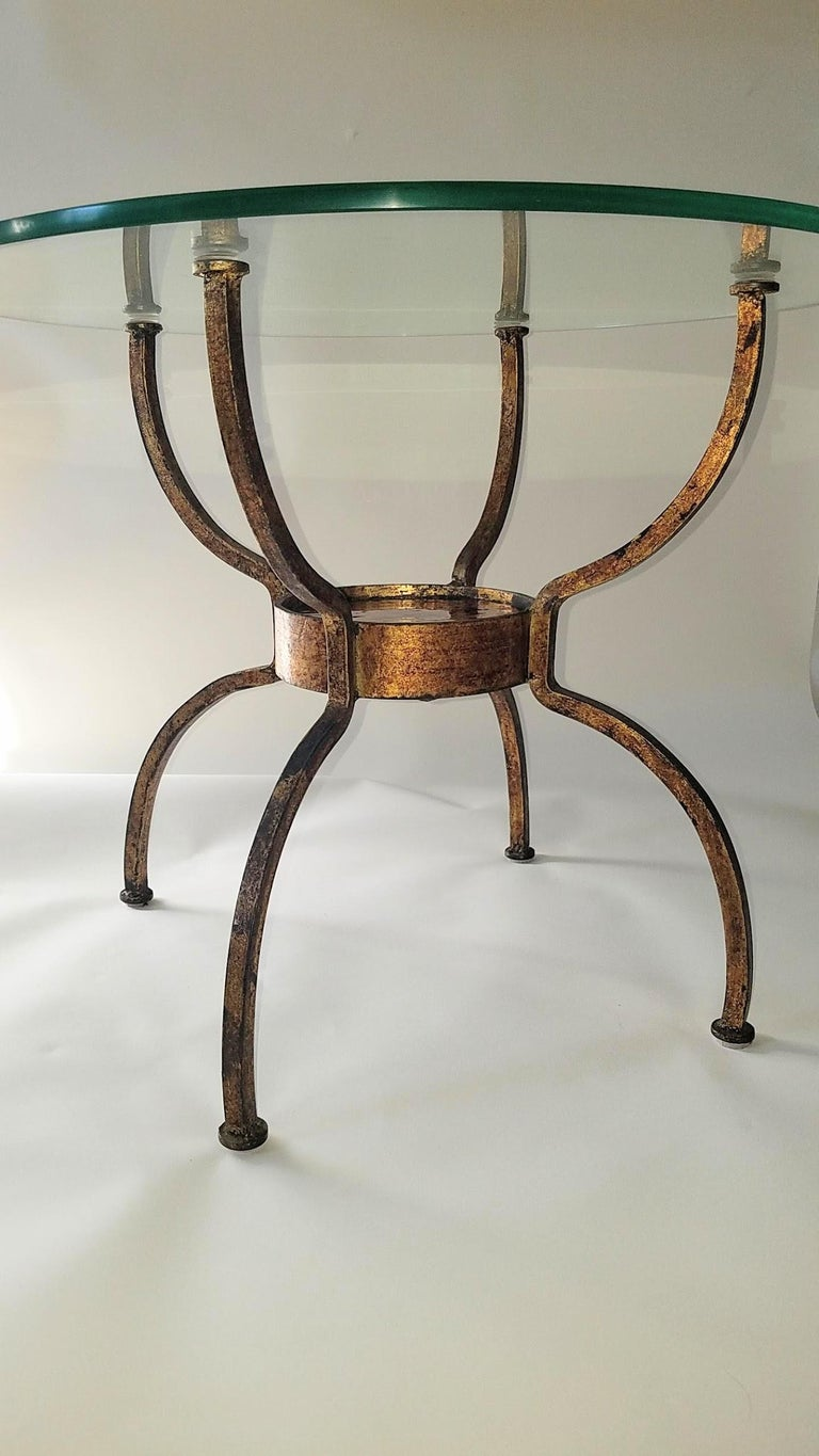 Cast French Gilt Wrought Iron End Table, France, 1970s For Sale