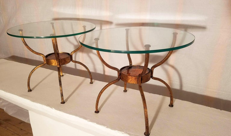 Cast Pair of French Gilt Wrought Iron End Table, France, 1970s For Sale