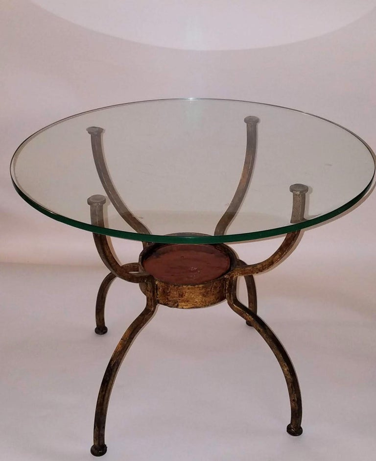 French Gilt Wrought Iron End Table, France, 1970s In Good Condition For Sale In Camden, ME