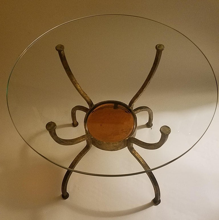Late 20th Century French Gilt Wrought Iron End Table, France, 1970s For Sale