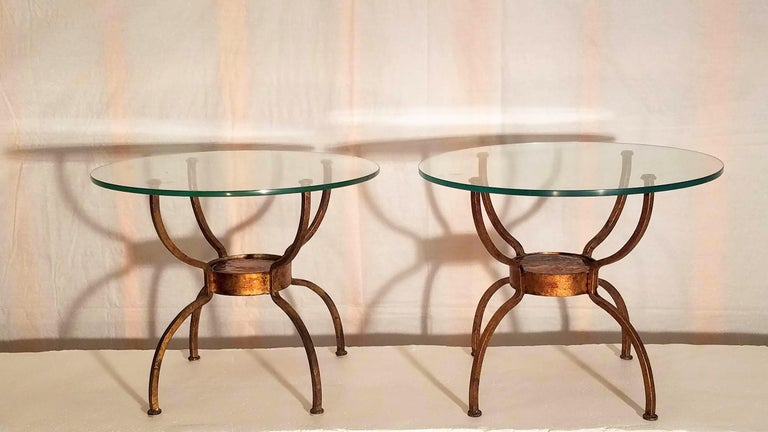 Late 20th Century Pair of French Gilt Wrought Iron End Table, France, 1970s For Sale