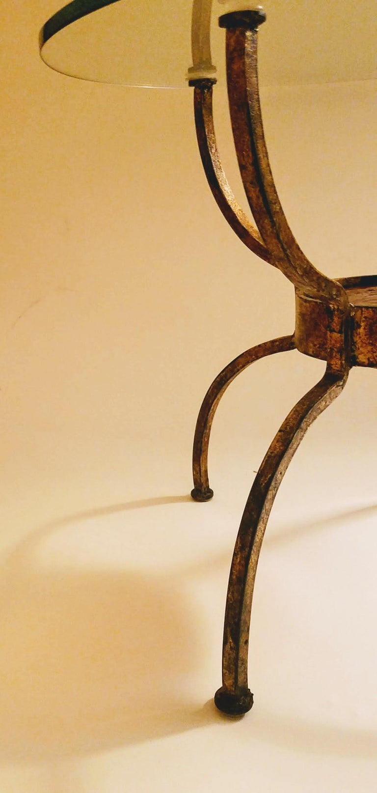 French Gilt Wrought Iron End Table, France, 1970s For Sale 1