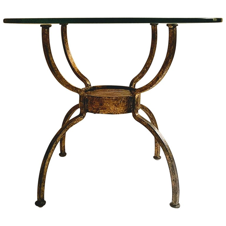 French Gilt Wrought Iron End Table, France, 1970s For Sale