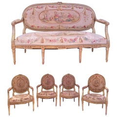 French Giltwood and Tapestry Five-Piece Salon Suite Louis XVI Style, circa 1890