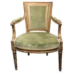 French Giltwood Cabriolet Armchair, Louis XVI Style, Linen Velvet