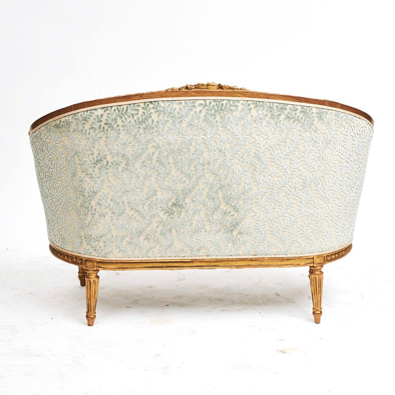 French Giltwood Canapé Sofa in Louis XVI Style, circa 1860 In Good Condition For Sale In Nordhavn, DK