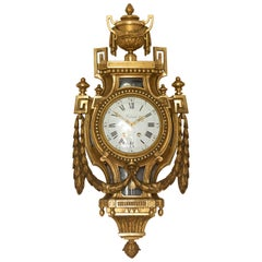 French Giltwood Cartel Clock by Defaud, Paris
