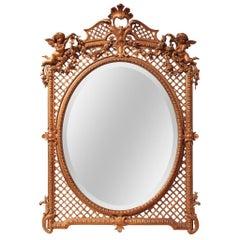 French Giltwood Cherub and Lattice Wall Mirror, circa 1900