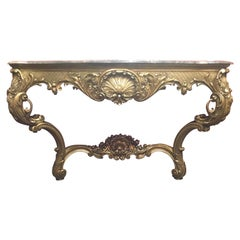 French Giltwood Console with Gray Marble, 19th Century Louis XV Style