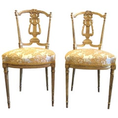 French Giltwood Embroidered Salon Side Chairs