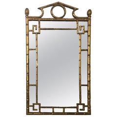 French Giltwood Faux Bamboo Mirror