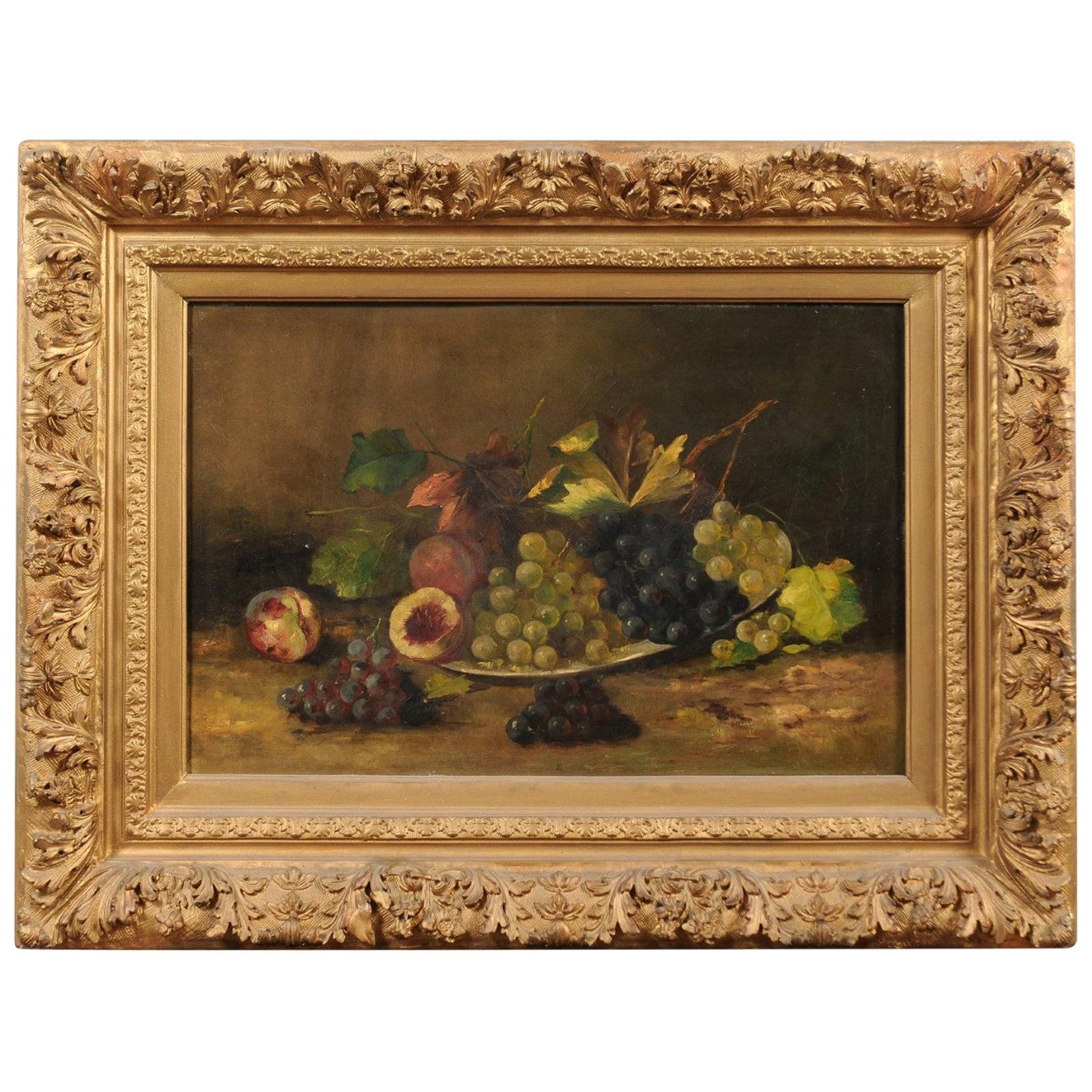 French Giltwood Framed 19th Century Oil on Canvas Painting Depicting Fruits