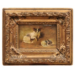 French Giltwood Framed Oil on Panel Painting of Papillon Dogs