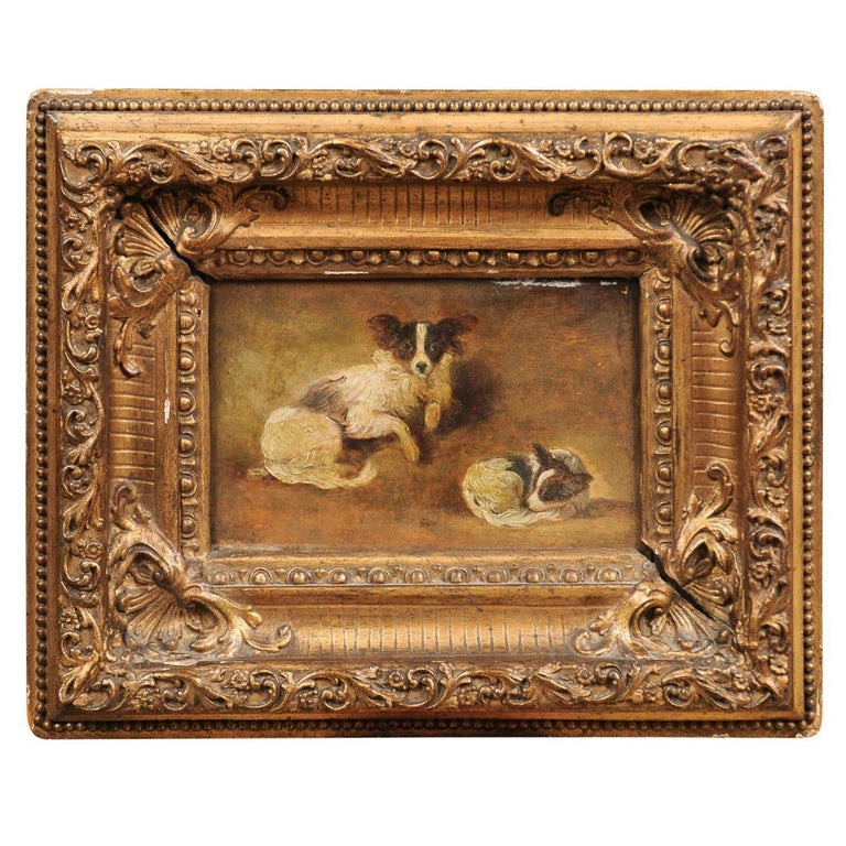 French Giltwood Framed Oil on Panel Painting of Papillon Dogs For Sale