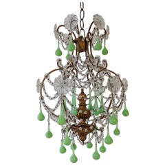 French Giltwood Green Opaline Murano Drops Crystal Prisms Chandelier, circa 1920