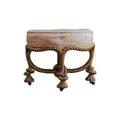 French Giltwood Knotted Rope Stool