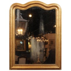 French Giltwood Louis-Philippe Mirror with Sinuous Top from the 19th Century