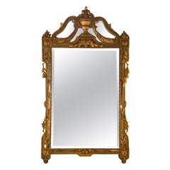 French Giltwood Mirror, 19th C. Beveled with Urn and Foliate Designs