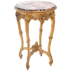 French Giltwood Occasional Table with Rouge Marble Top, 19th Century