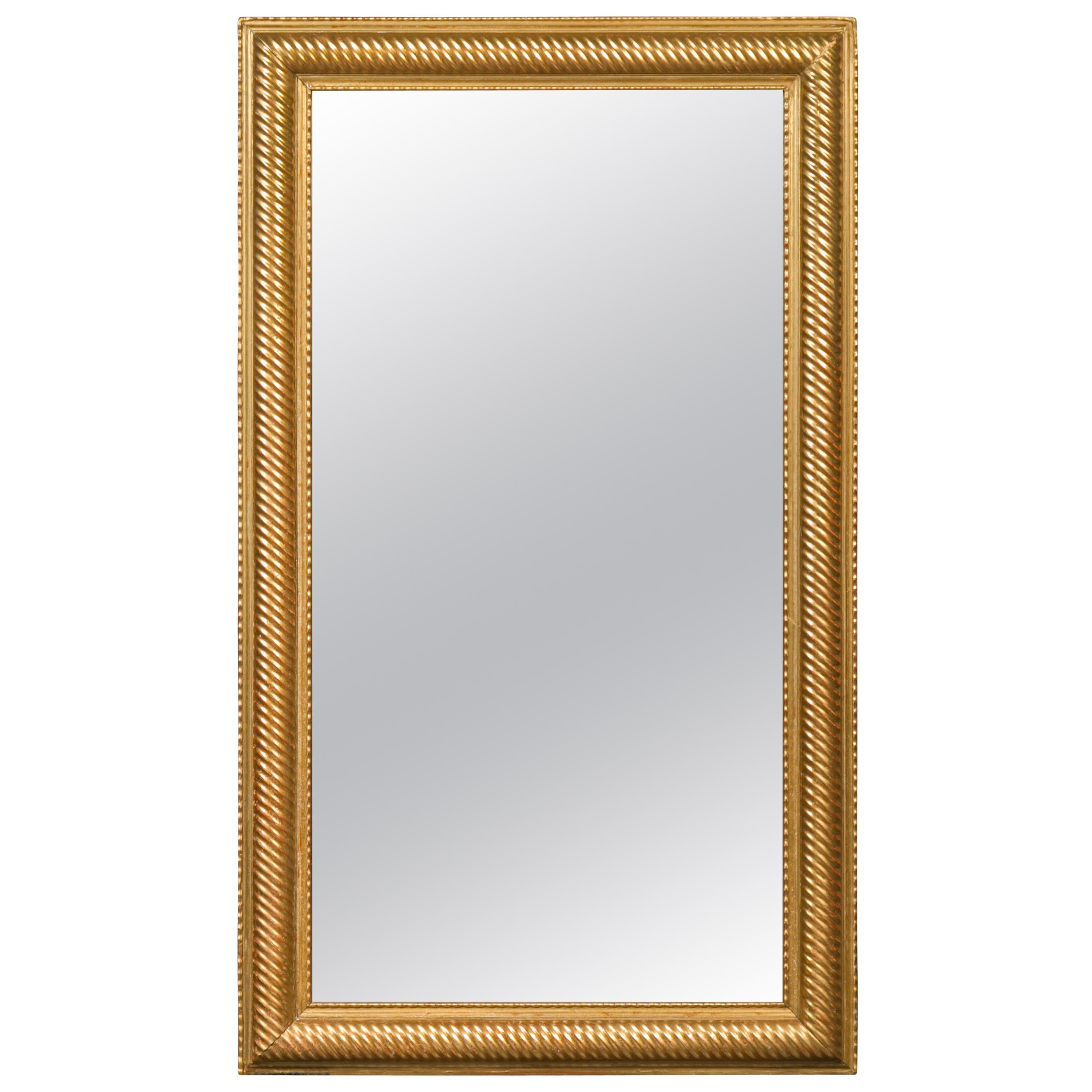 French Giltwood Rectangular Mirror with Twisted Motifs, circa 1900