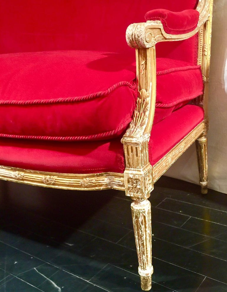 French Giltwood Settee Sofa, Style Louis XVI, Red Velvet, 19th Century For Sale 7