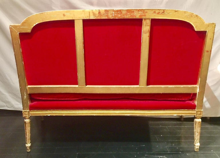 French Giltwood Settee Sofa, Style Louis XVI, Red Velvet, 19th Century For Sale 5