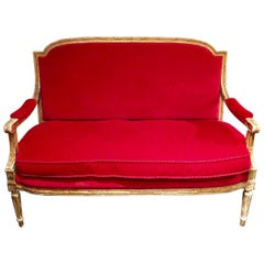 French Giltwood Settee Sofa, Style Louis XVI, Red Velvet, 19th Century