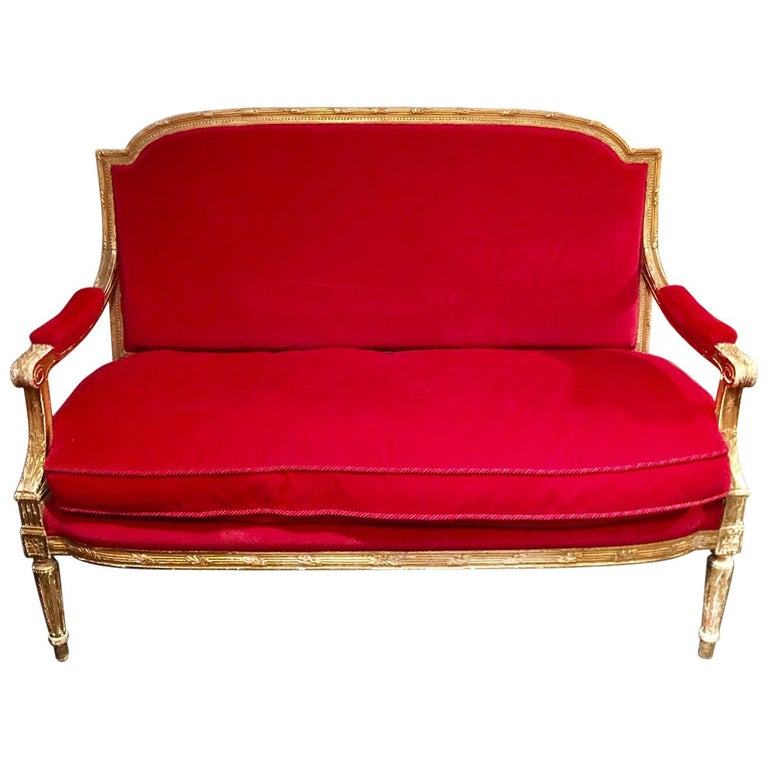 French Giltwood Settee Sofa, Style Louis XVI, Red Velvet, 19th Century For Sale