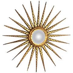 French Giltwood Sunburst Starburst Convex Mirror, 1930s