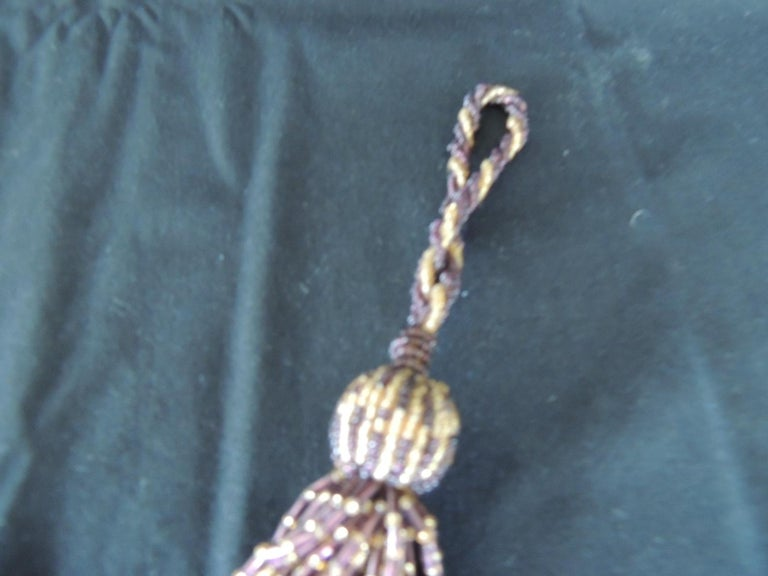 French glass beads decorative tassel. handwoven key tassel with glass and acrylic beads. In shades of brown, burgundy and gold. Size: 7