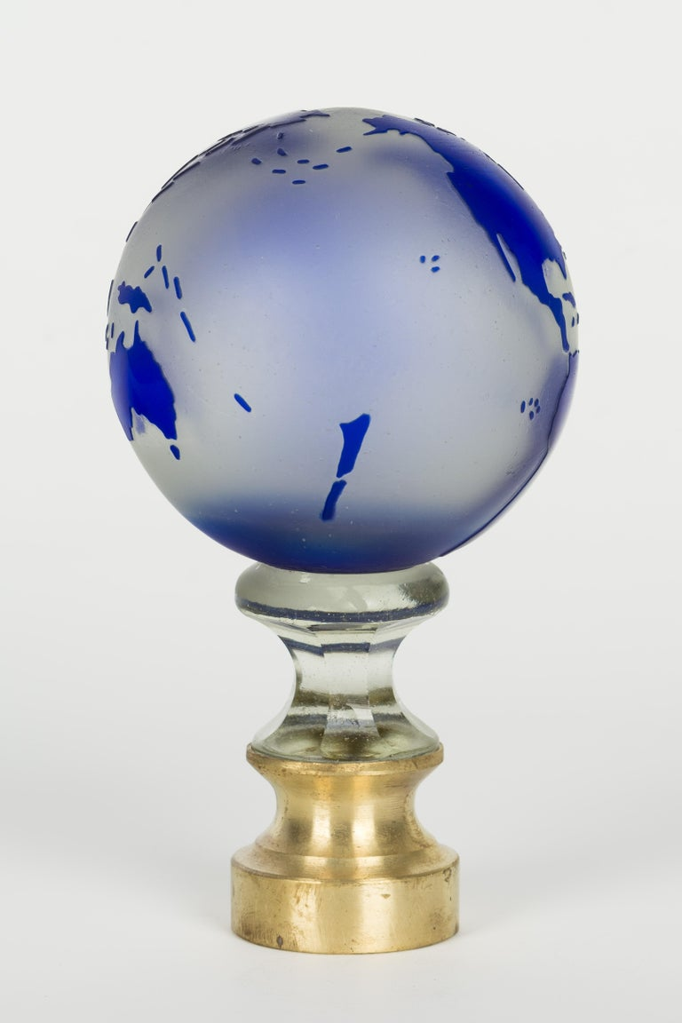 Brass French Glass Boule d'Escalier Globe For Sale