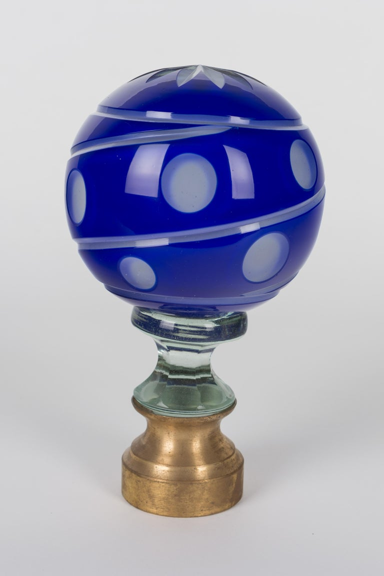 Cast French Glass Boule d'Escalier or Newel Post Finial For Sale