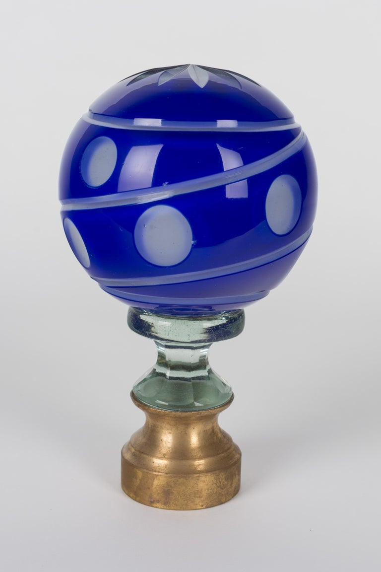 20th Century French Glass Boule d'Escalier or Newel Post Finial For Sale