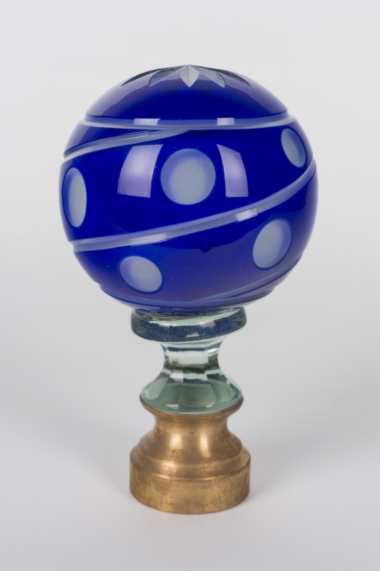 French Glass Boule d'Escalier or Newel Post Finial For Sale 1