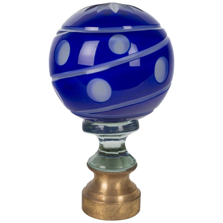 French Glass Boule d'Escalier or Newel Post Finial For Sale