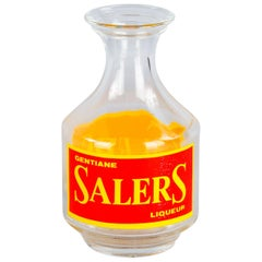 French Glass Carafe Advertising Salers Liqueur, 20th Century
