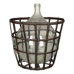 French Glass Demijohn Bottle in Metal Basket