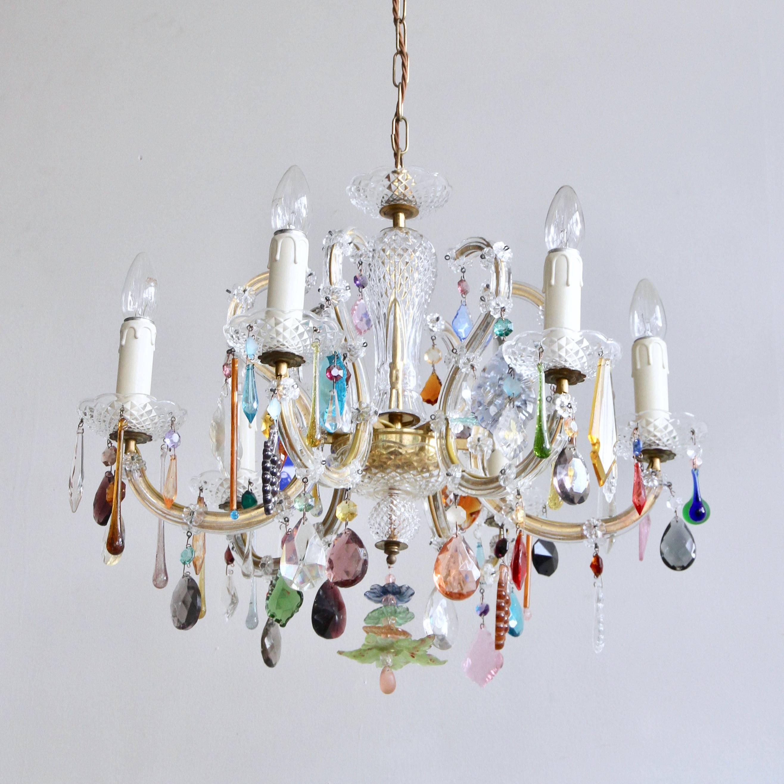 French glass marie thrse chandelier with multicolored drops for french glass marie thrse chandelier with multicolored drops for sale at 1stdibs arubaitofo Gallery