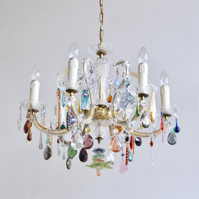 French glass marie thrse chandelier with multicolored drops at 1stdibs french glass marie thrse chandelier with multicolored drops in good condition for sale in stockport aloadofball