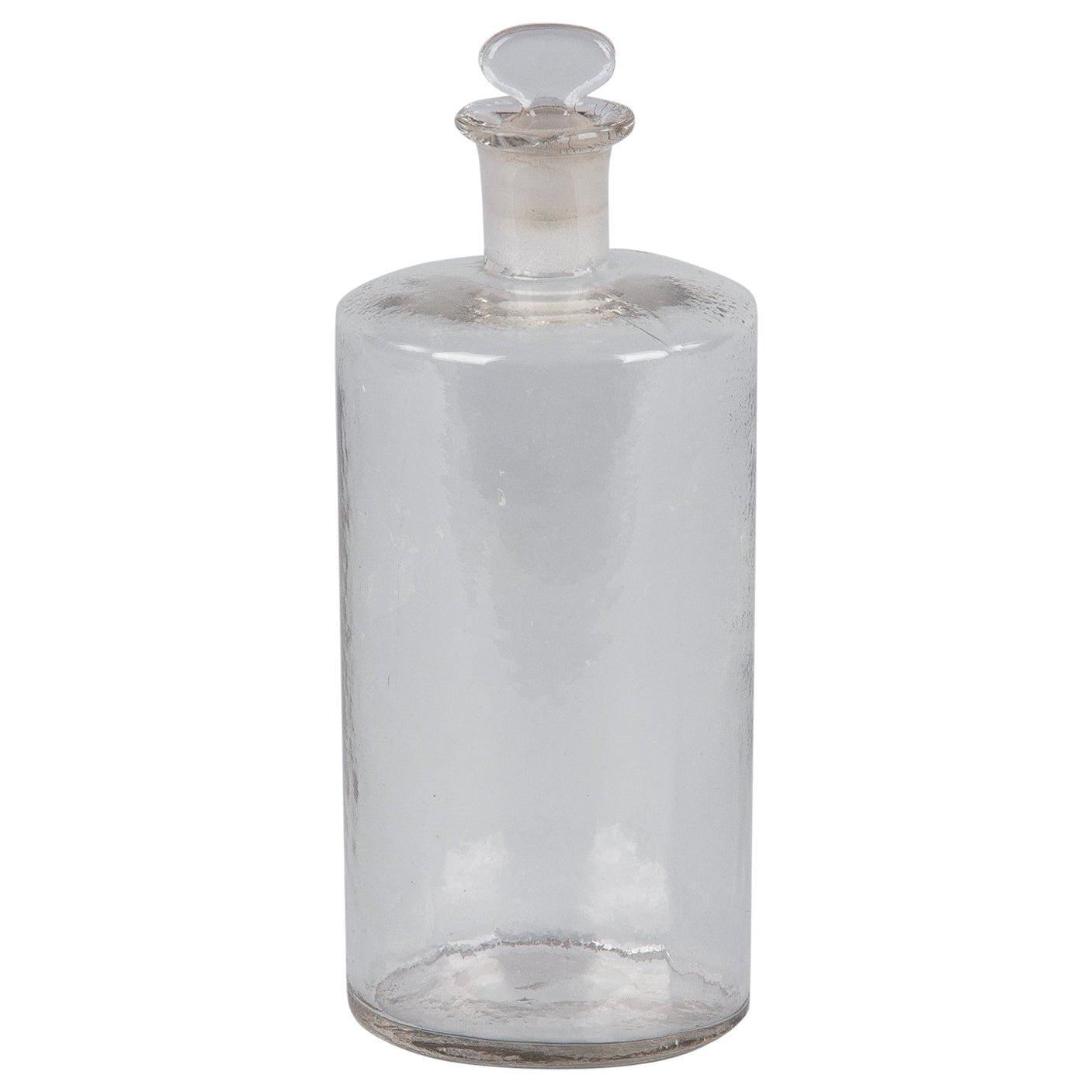 French Glass Pharmacy Jar, Early 1900s