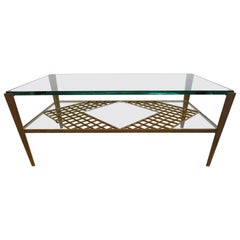 French Mid Century Glass Top Cocktail Table