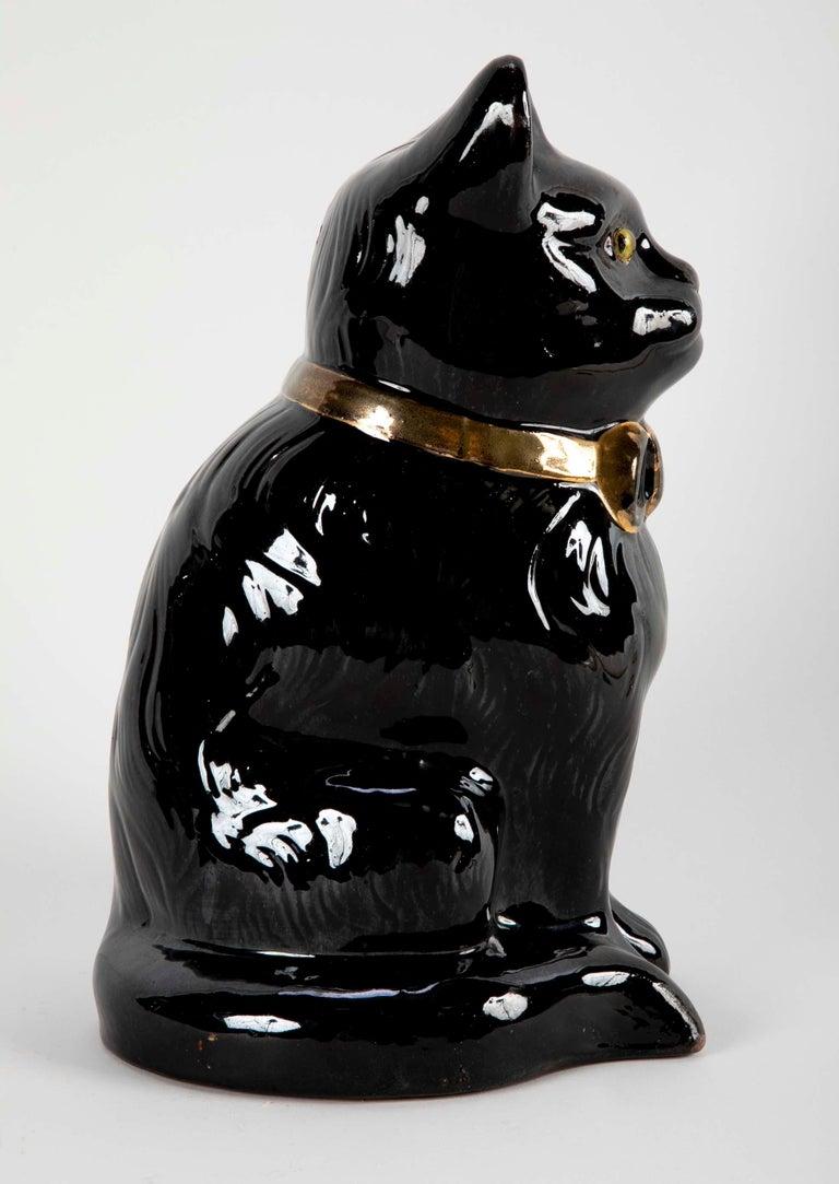 French glazed Ceramic Black Cat For Sale 5