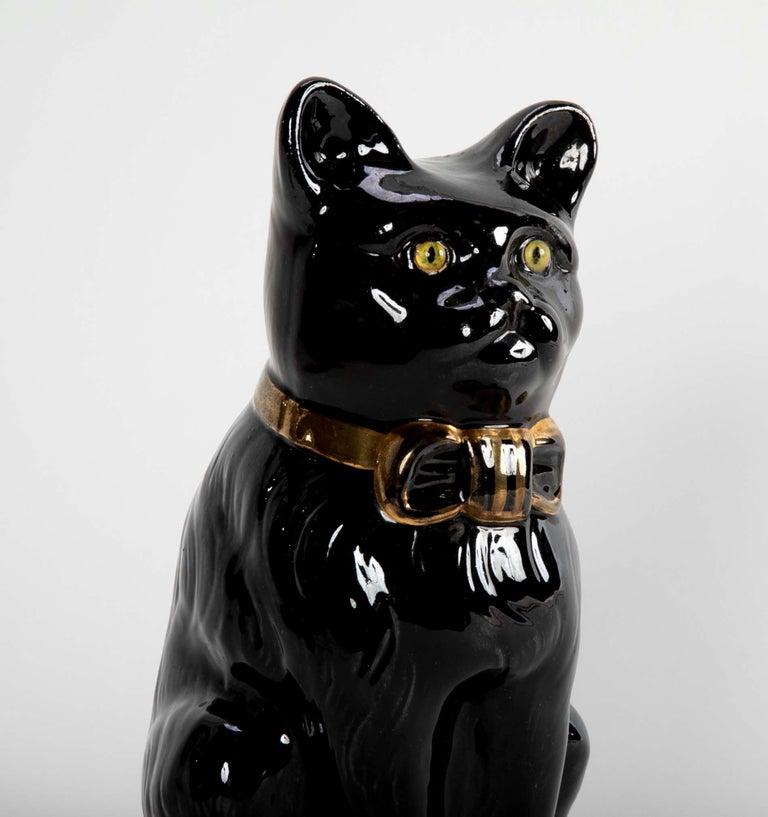 Art Nouveau French glazed Ceramic Black Cat For Sale