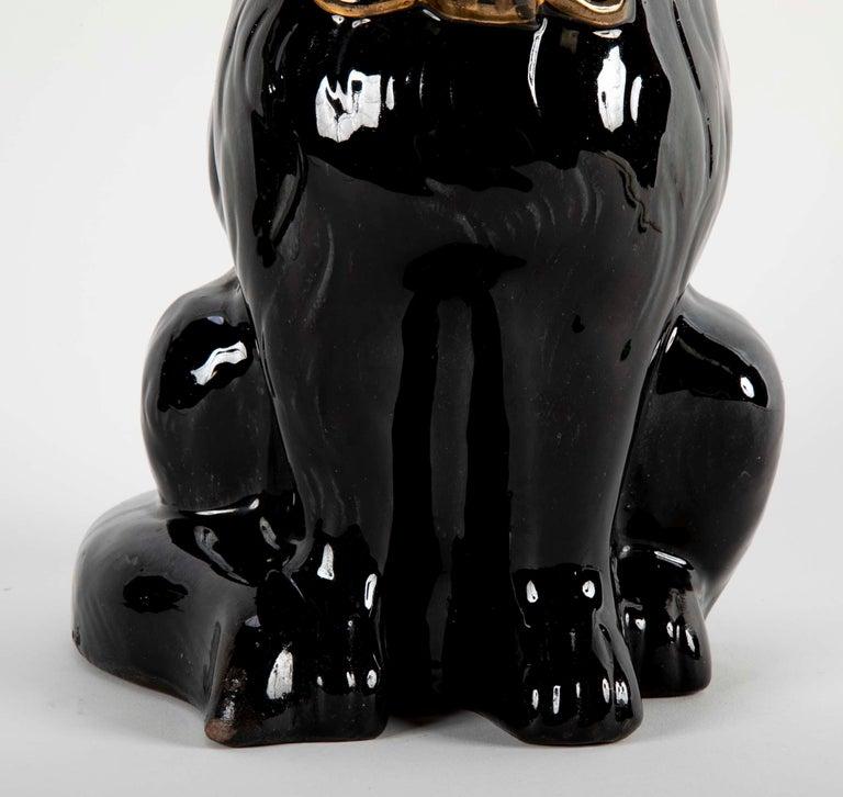 French glazed Ceramic Black Cat For Sale 1