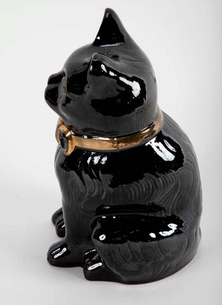 French glazed Ceramic Black Cat For Sale 3